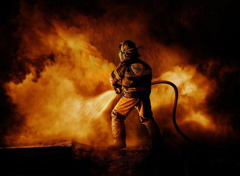 Firefighrter fighting fire